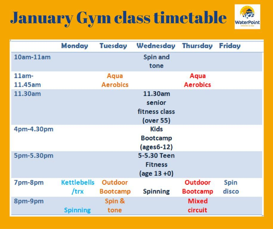 Gym classes timetable January ws